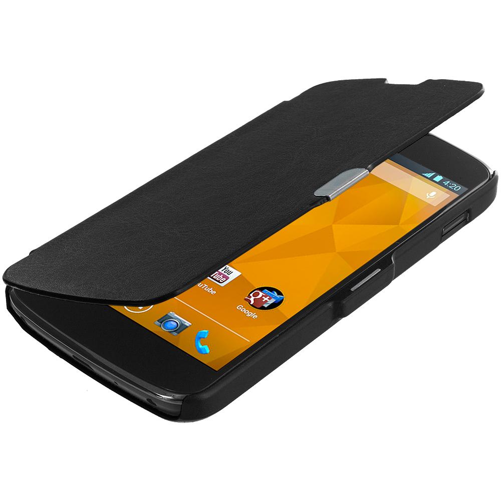 LG Google Nexus 4 E960 Black Magnetic Wallet Case Cover Pouch