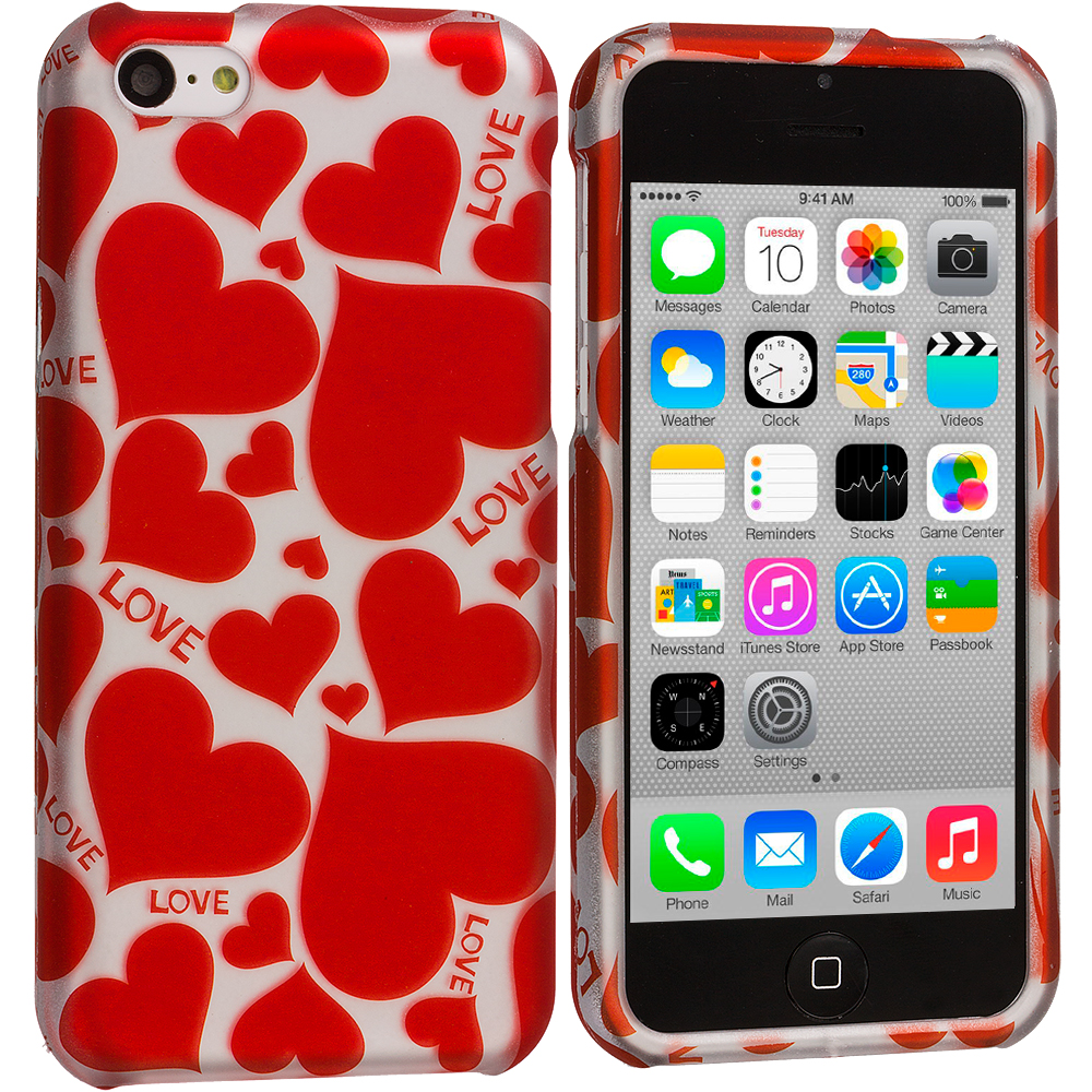 Apple iPhone 5C Hearts w Different Shapes Hard Rubberized Design Case Cover