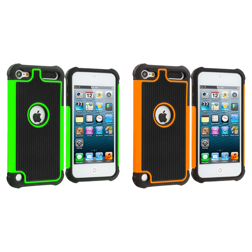 Apple iPod Touch 5th 6th Generation 2 in 1 Combo Bundle Pack - Orange / Neon Green Hybrid Rugged Hard/Soft Case Cover