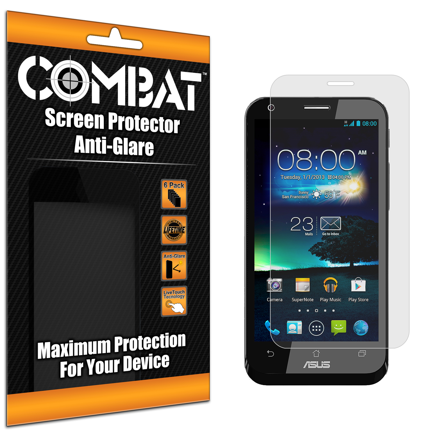 Asus PadFone X Combat 6 Pack Anti-Glare Matte Screen Protector