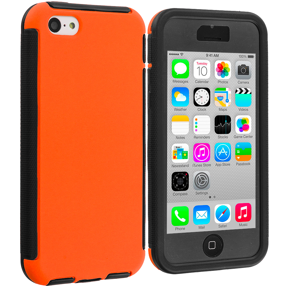 Apple iPhone 5C Black / Orange Hybrid Hard TPU Shockproof Case Cover With Built in Screen Protector