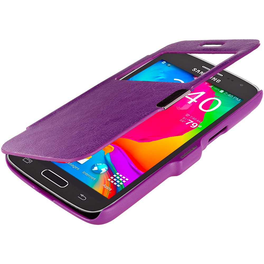 Samsung Galaxy Avant G386 Purple (Open) Magnetic Flip Wallet Case Cover Pouch