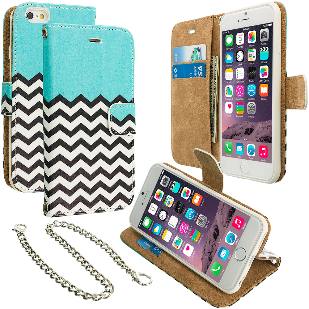 Apple iPhone 6 6S (4.7) Mint Green Zebra Leather Wallet Pouch Case Cover with Slots
