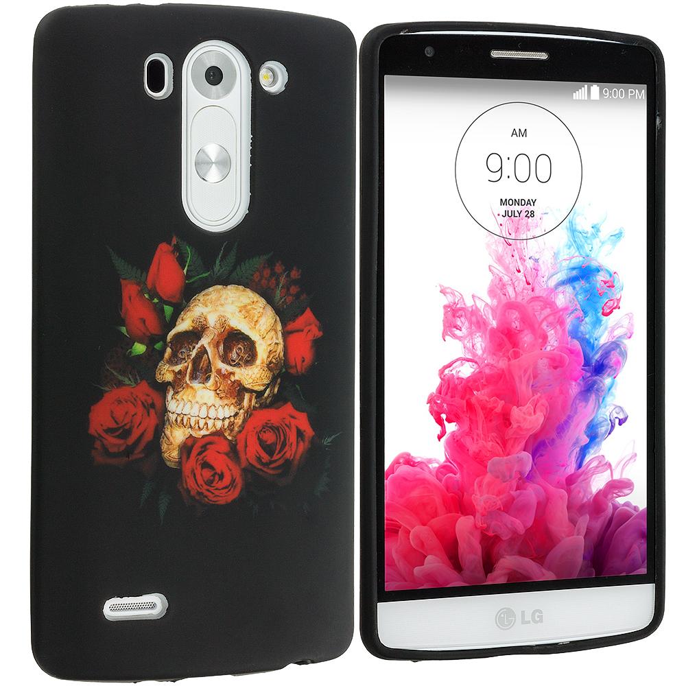 LG G3 Vigor D725 G3s Red Rose Skull TPU Design Soft Rubber Case Cover
