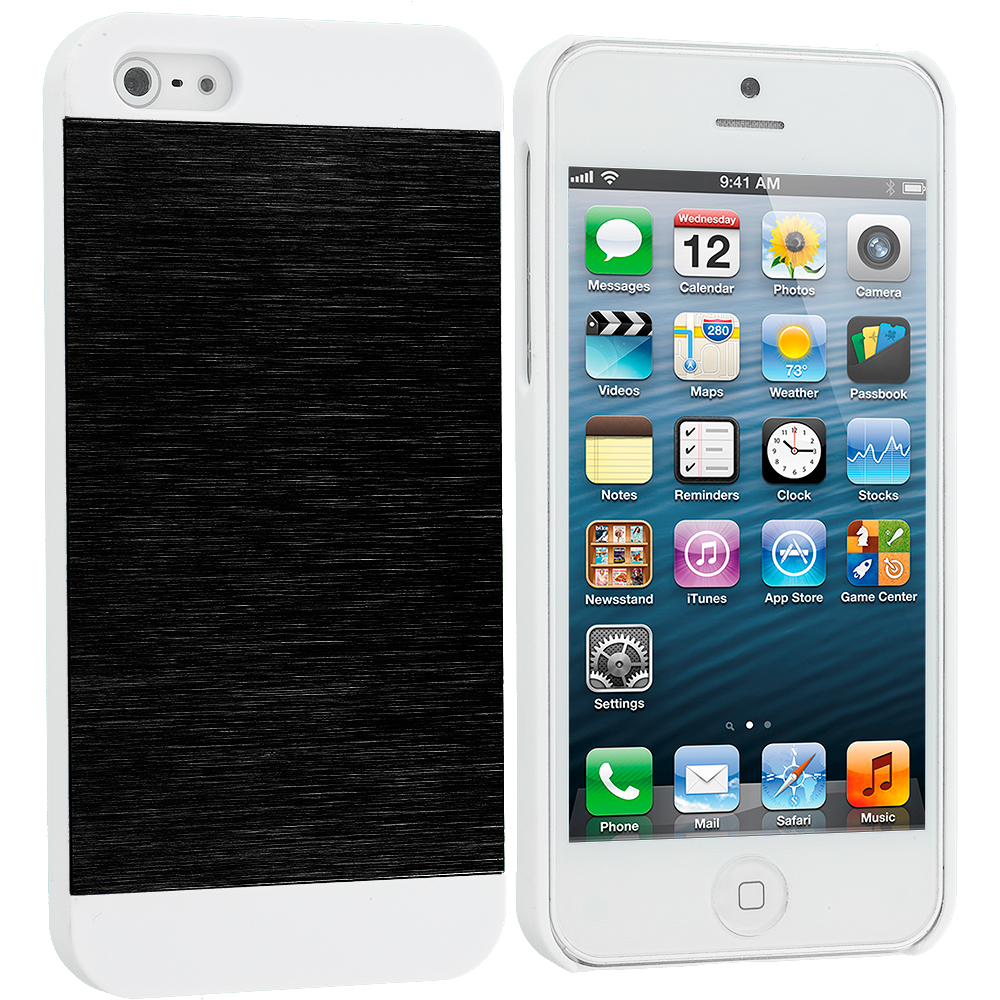Apple iPhone 5/5S/SE Combo Pack : Black / White Hybrid Luxury Aluminum Hard Case Cover : Color Black / White