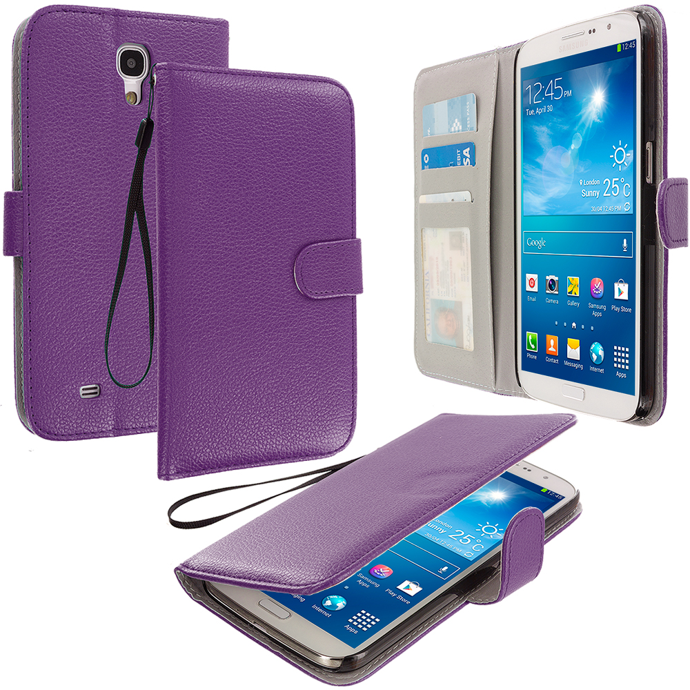 Samsung Galaxy Mega 6.3 Purple Leather Wallet Pouch Case Cover with Slots