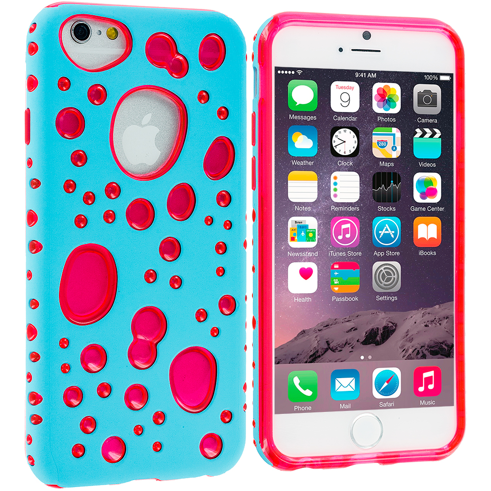 Apple iPhone 6 6S (4.7) Baby Blue / Hot Pink Hybrid Bubble Hard/Soft Skin Case Cover