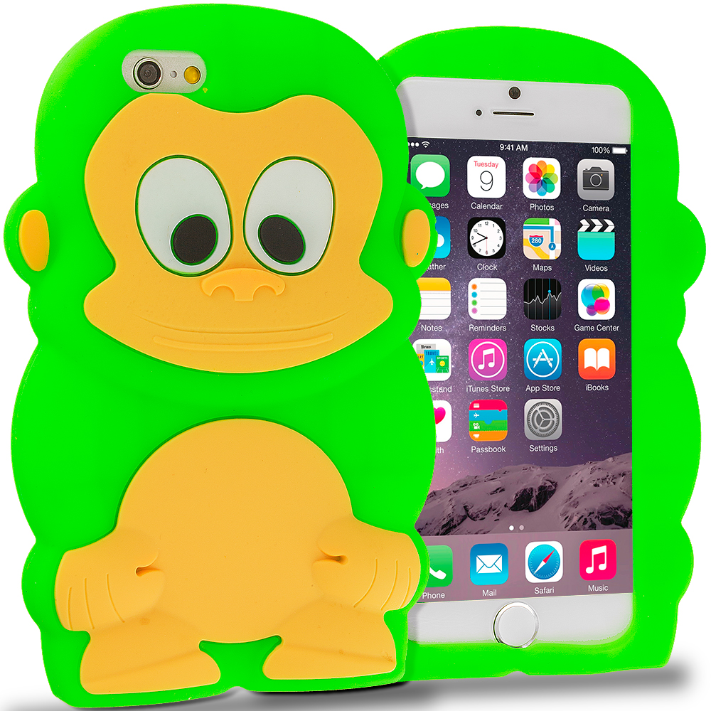 Apple iPhone 6 6S (4.7) Neon Green Monkey Silicone Design Soft Skin Case Cover
