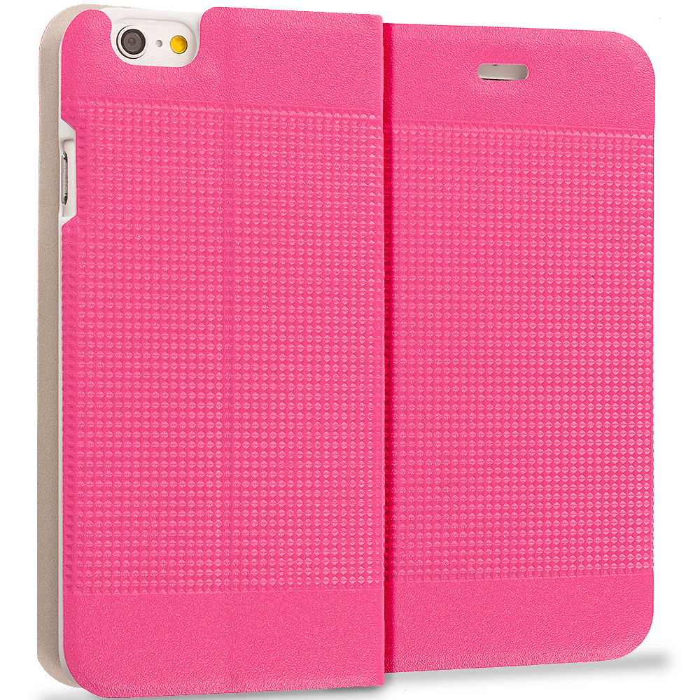 Apple iPhone 6 6S (4.7) Hot Pink Slim Wallet Flip Design Case Cover