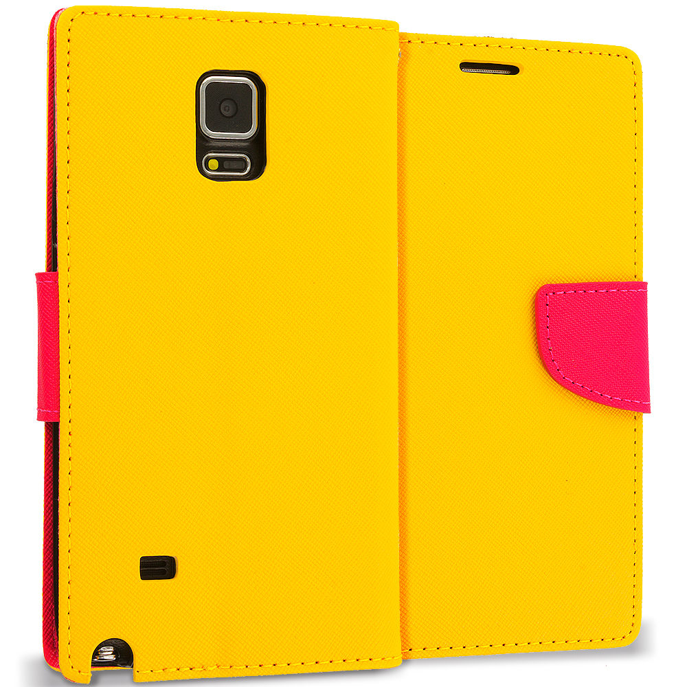 Samsung Galaxy Note 4 Yellow / Hot Pink Leather Flip Wallet Pouch TPU Case Cover with ID Card Slots