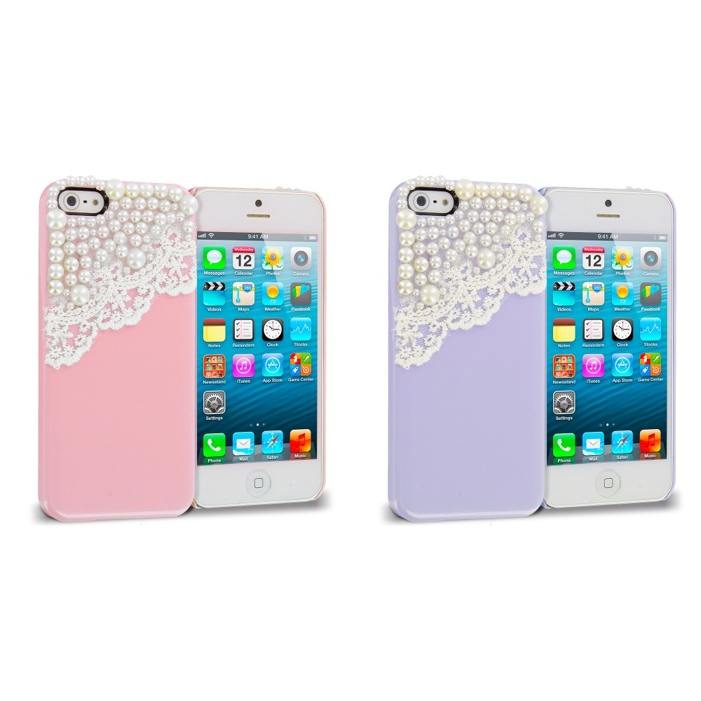 Apple iPhone 5/5S/SE Combo Pack : Pink Pearls Crystal Hard Back Cover Case