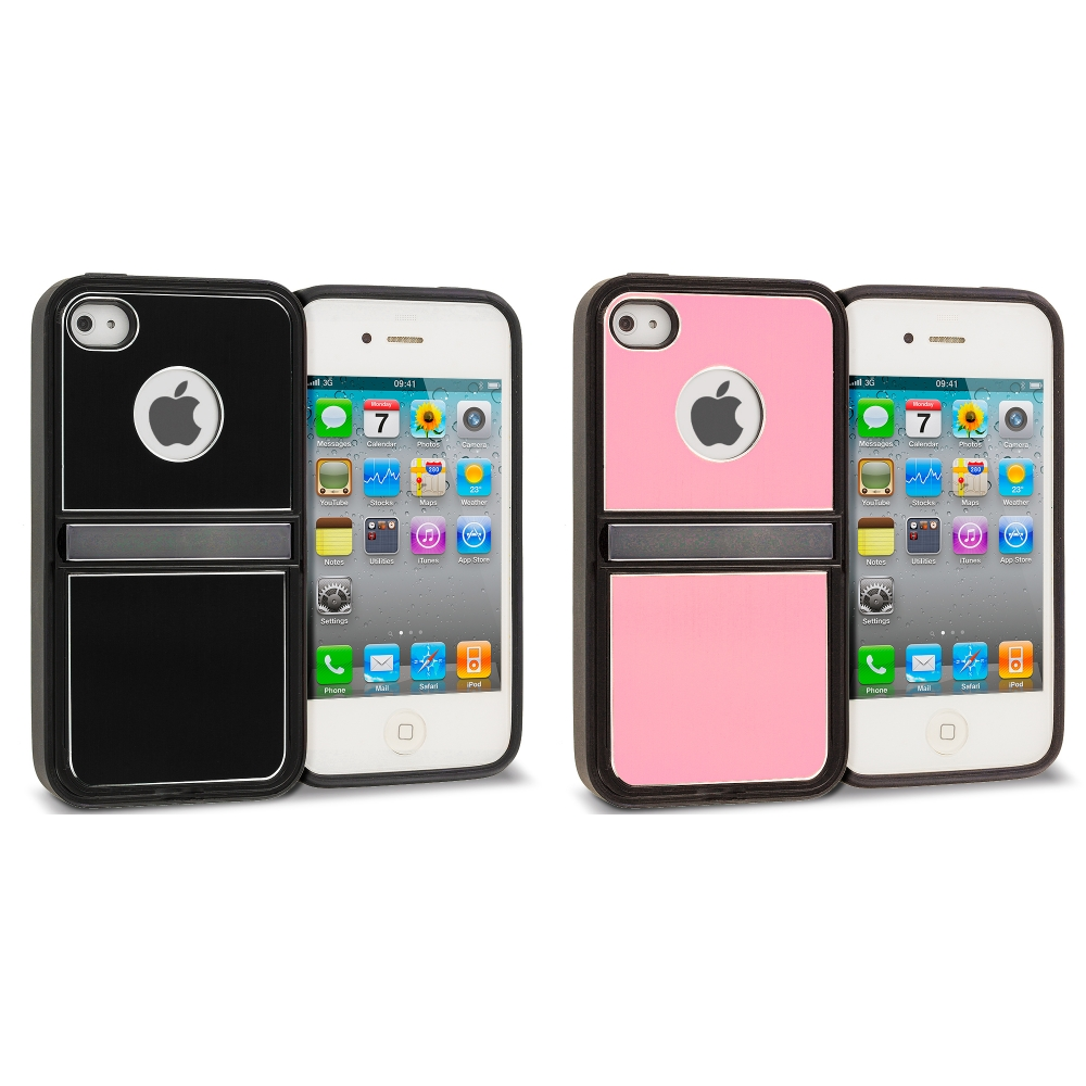 Apple iPhone 4 / 4S 2 in 1 Combo Bundle Pack - Black Pink Brushed Stand Aluminum Metal Hard Case Cover