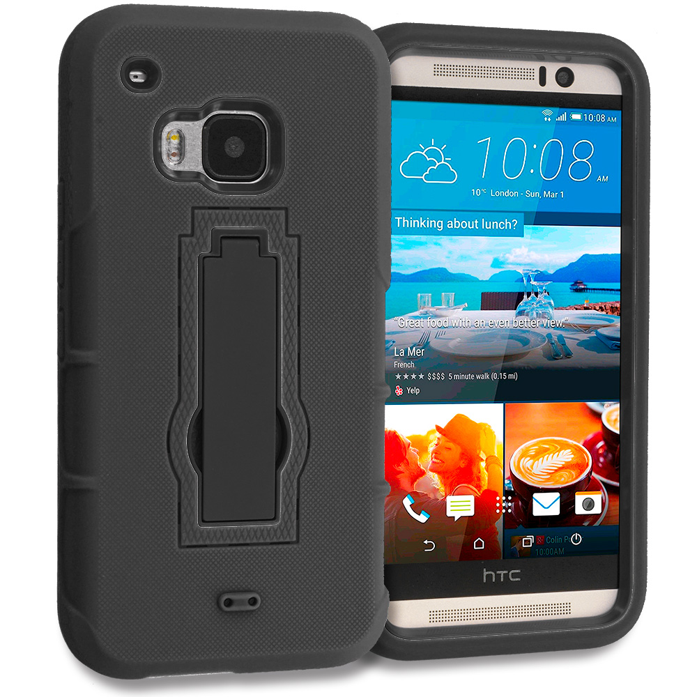 HTC One M9 Black / Black Hybrid Heavy Duty Hard Soft Case Cover with Kickstand