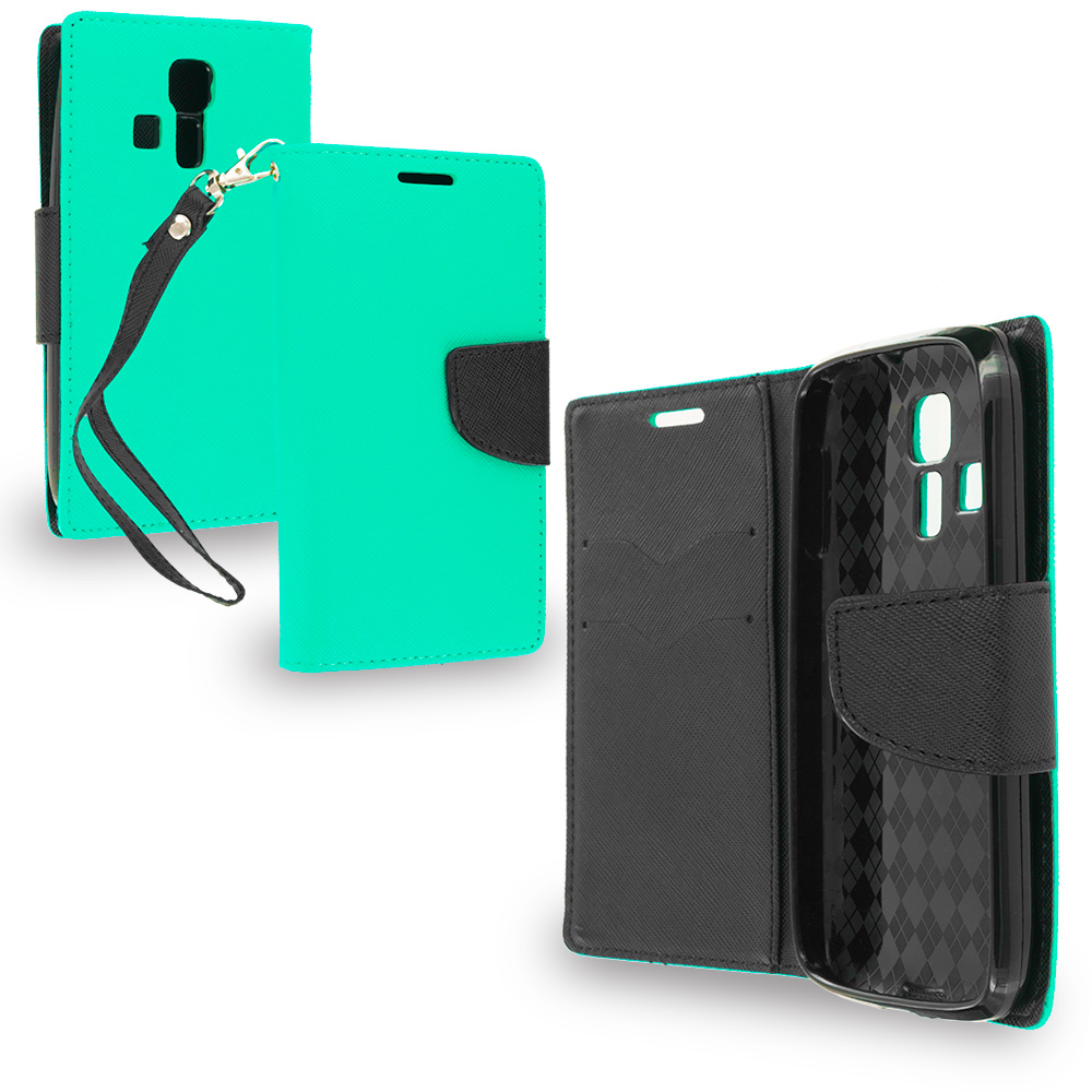 Kyocera Hydro Icon / Hydro Life Mint Green / Black Leather Flip Wallet Pouch TPU Case Cover with ID Card Slots