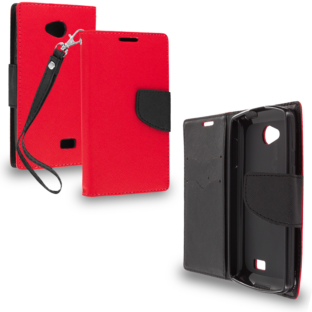 LG Transpyre Tribute F60 Red / Black Leather Flip Wallet Pouch TPU Case Cover with ID Card Slots