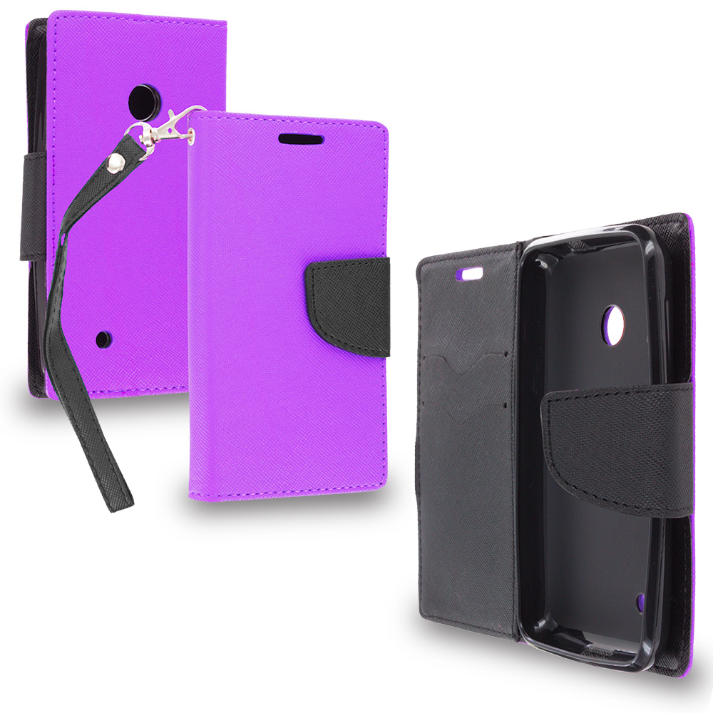 Nokia Lumia 530 Purple / Black Leather Flip Wallet Pouch TPU Case Cover with ID Card Slots