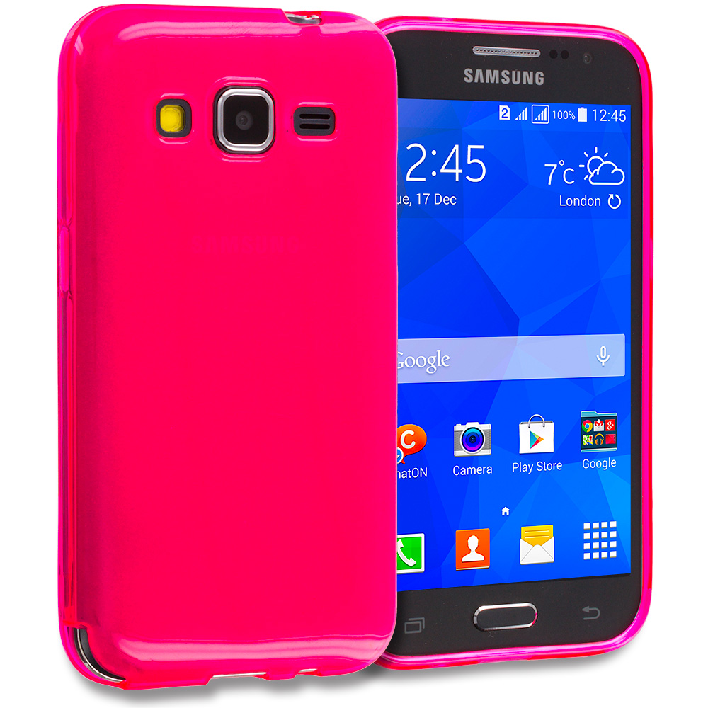 Samsung Galaxy Prevail LTE Core Prime G360P 2 in 1 Combo Bundle Pack - Clear TPU Rubber Skin Case Cover : Color Hot Pink