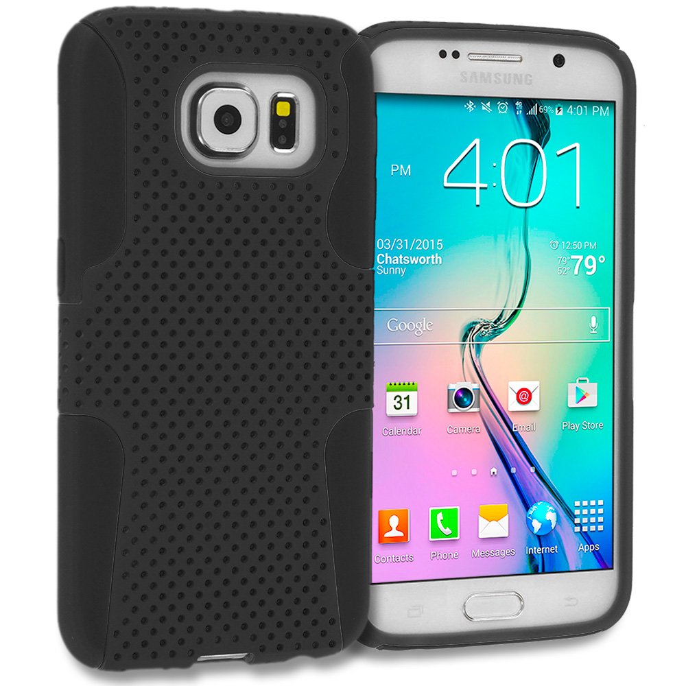 Samsung Galaxy S6 4 in 1 Combo Bundle Pack - Hybrid Mesh Hard/Soft Case Cover : Color Black / Black