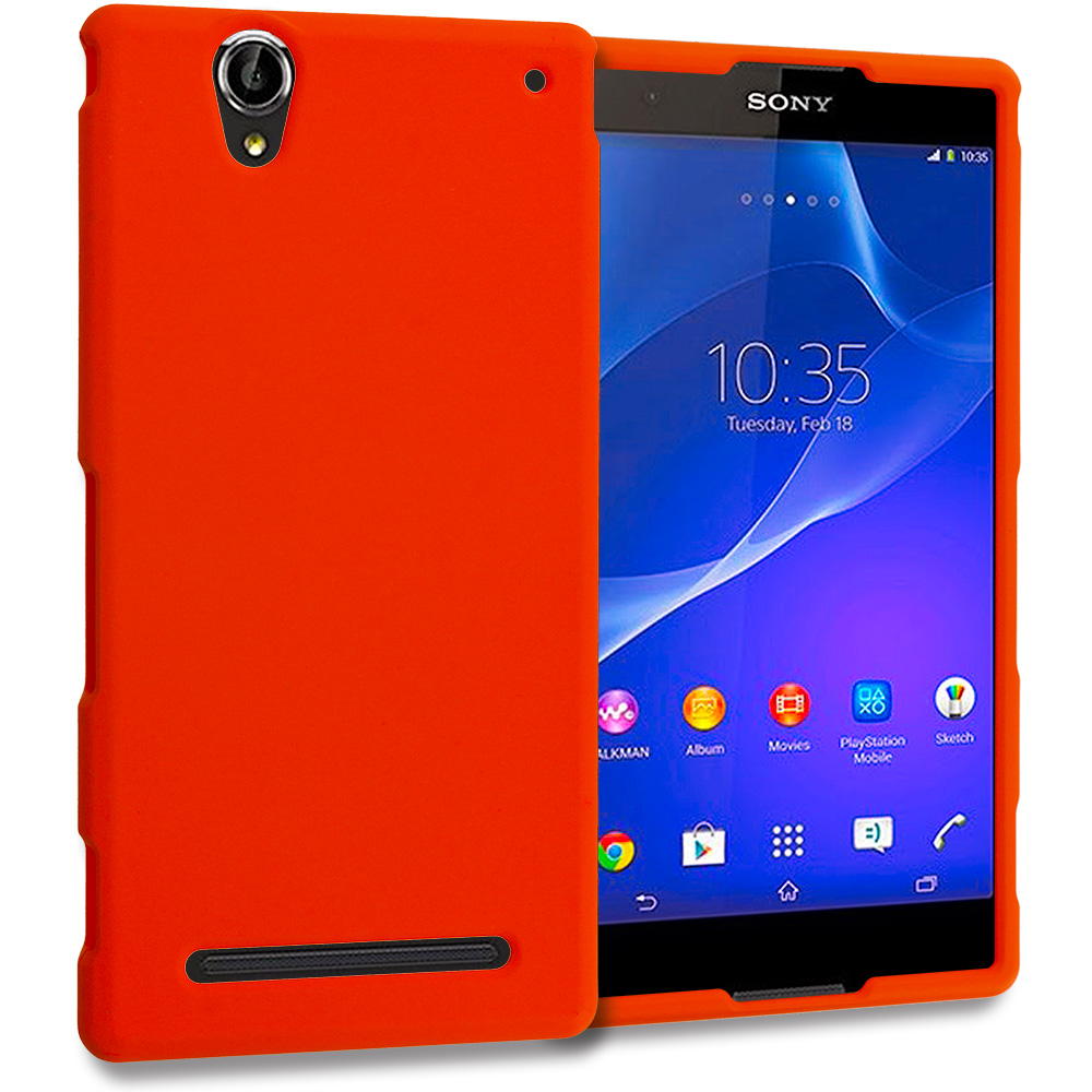 Sony Xperia T2 Ultra D5303 Orange Hard Rubberized Case Cover