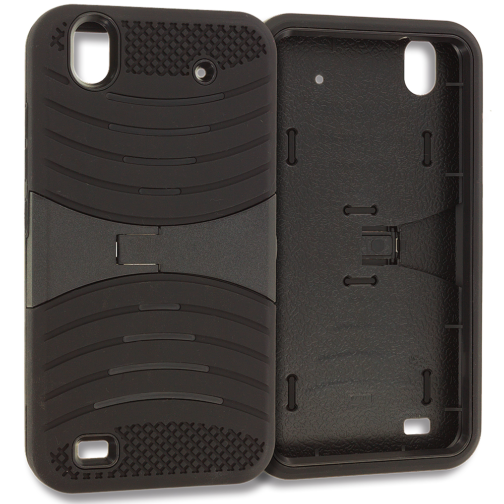 ZTE Quartz Z797c Black / Black Hybrid Heavy Duty Shockproof Case Cover with Stand