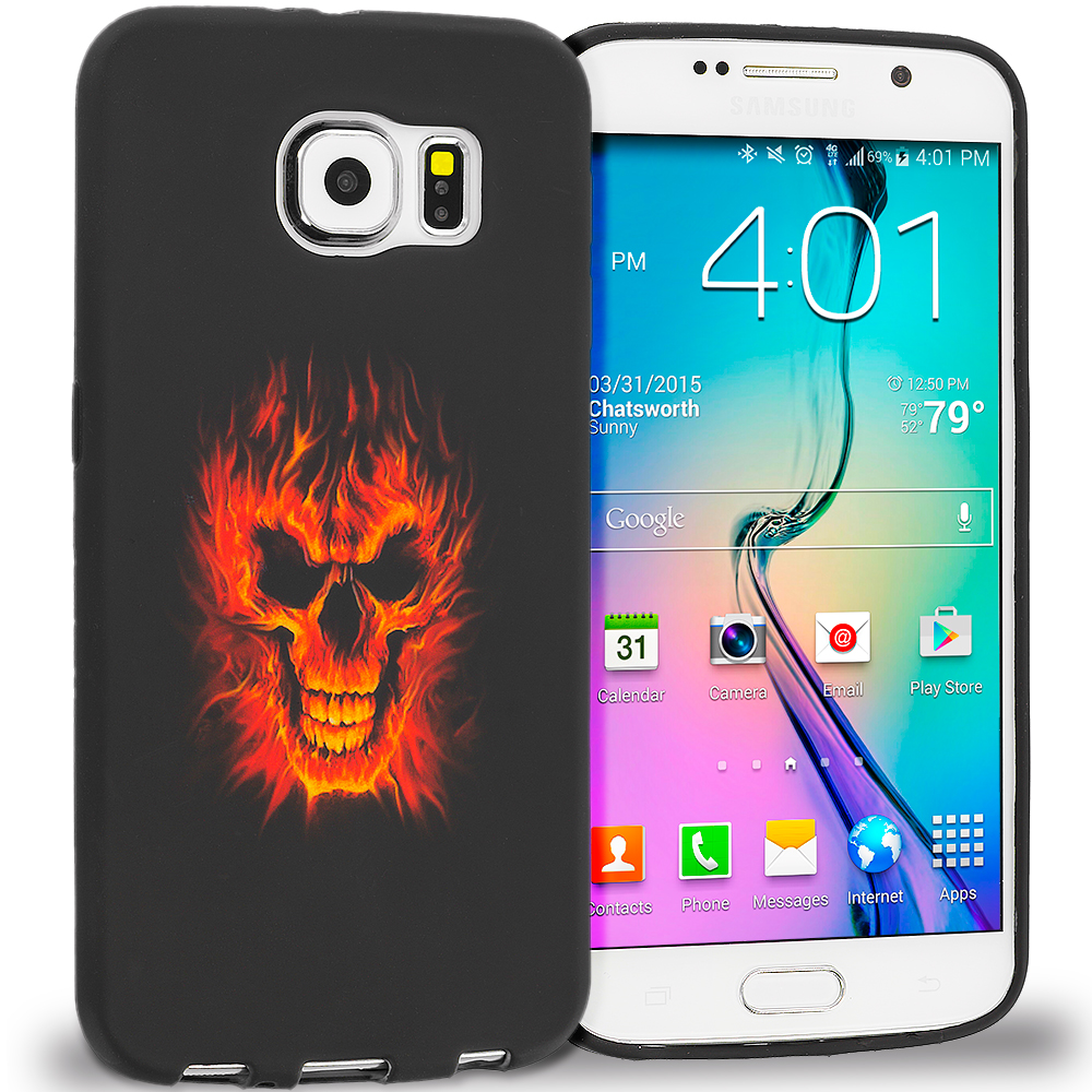 Samsung Galaxy S6 Fire Skull TPU Design Soft Rubber Case Cover