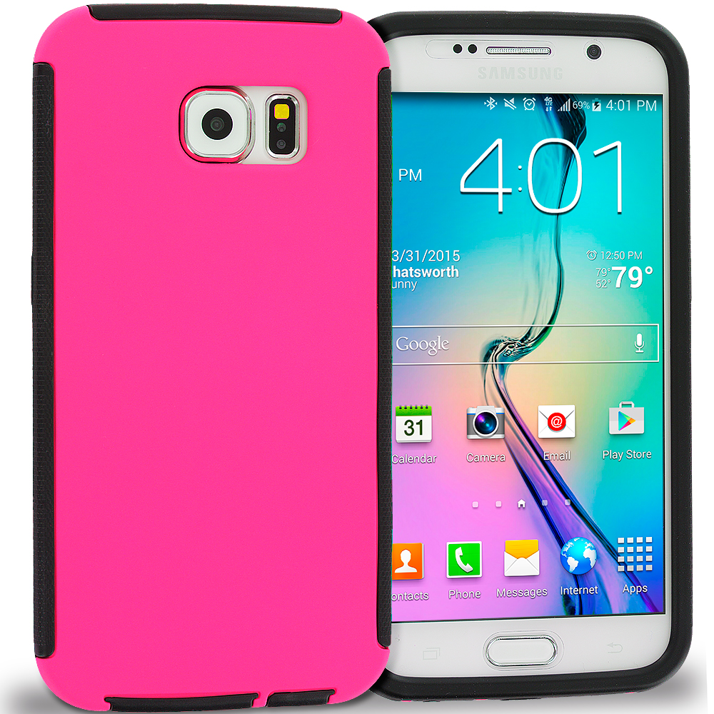 Samsung Galaxy S6 Black / Hot Pink Hybrid Hard TPU Shockproof Case Cover With Built in Screen Protector
