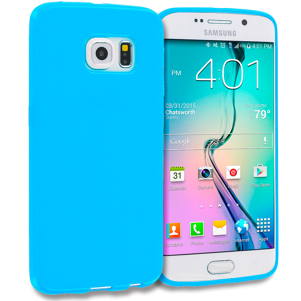 Samsung Galaxy S6 Edge Baby Blue Solid TPU Rubber Skin Case Cover