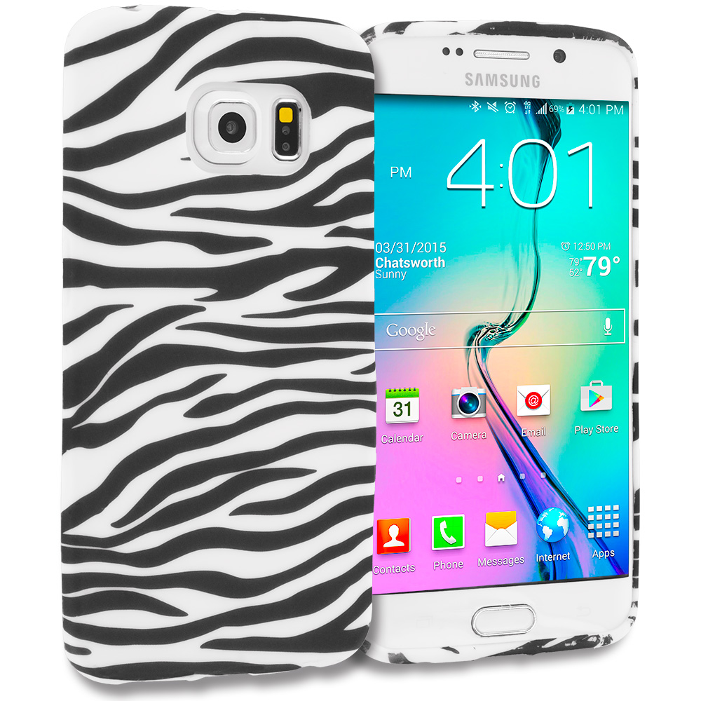 Samsung Galaxy S6 Edge Black/White Zebra TPU Design Soft Rubber Case Cover