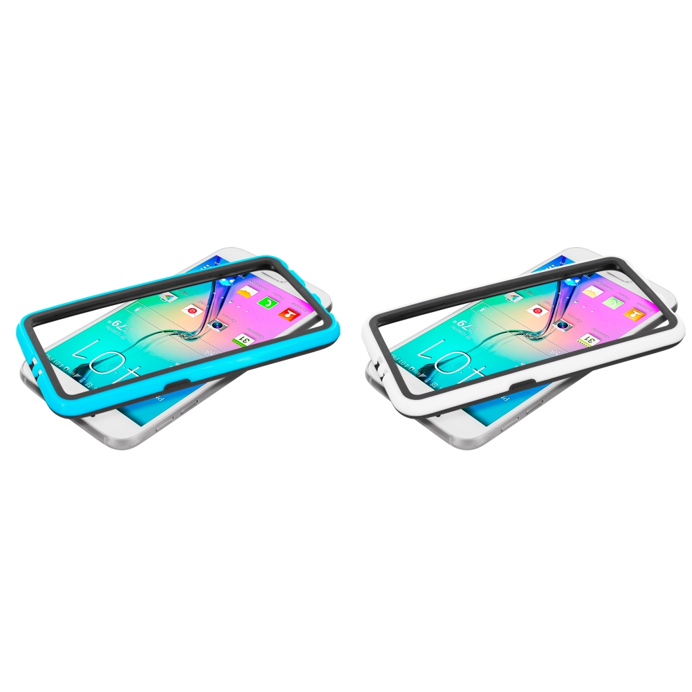 Samsung Galaxy S6 Combo Pack : Black / Baby Blue TPU Bumper Frame with Metal Buttons