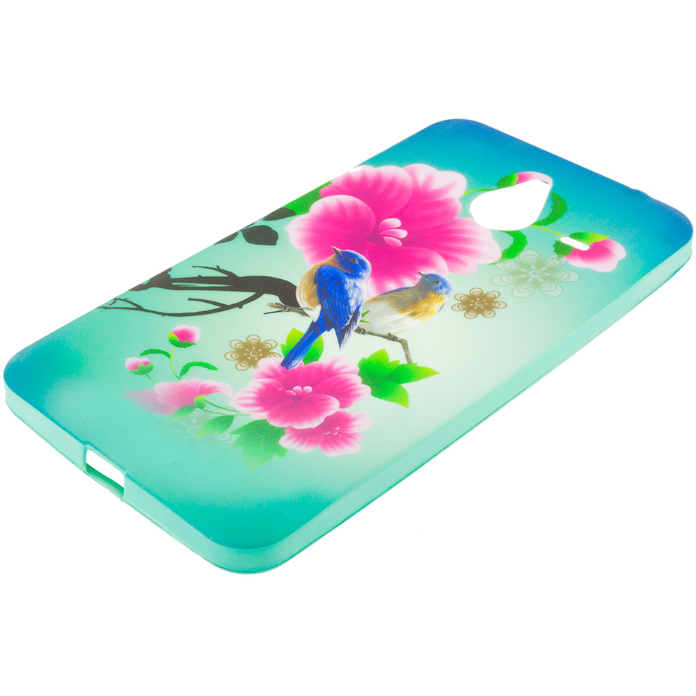Microsoft Lumia 640 XL Blue Bird Pink Flower TPU Design Soft Rubber Case Cover