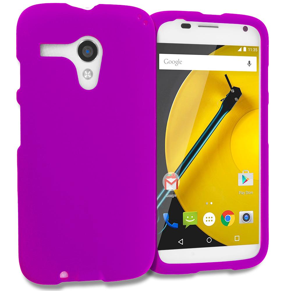 Motorola Moto E LTE 2nd Generation Purple Hard Rubberized Case Cover