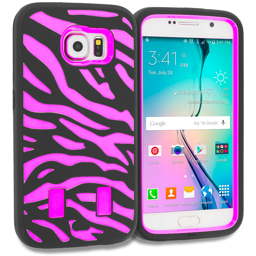 Samsung Galaxy S6 4 in 1 Combo Bundle Pack - Hybrid Zebra Hard/Soft Case Cover : Color Black Hot Pink