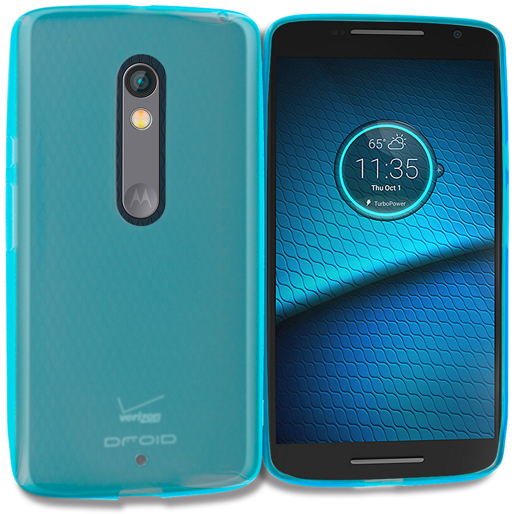 Motorola Droid Maxx 2 XT1565 Baby Blue TPU Rubber Skin Case Cover