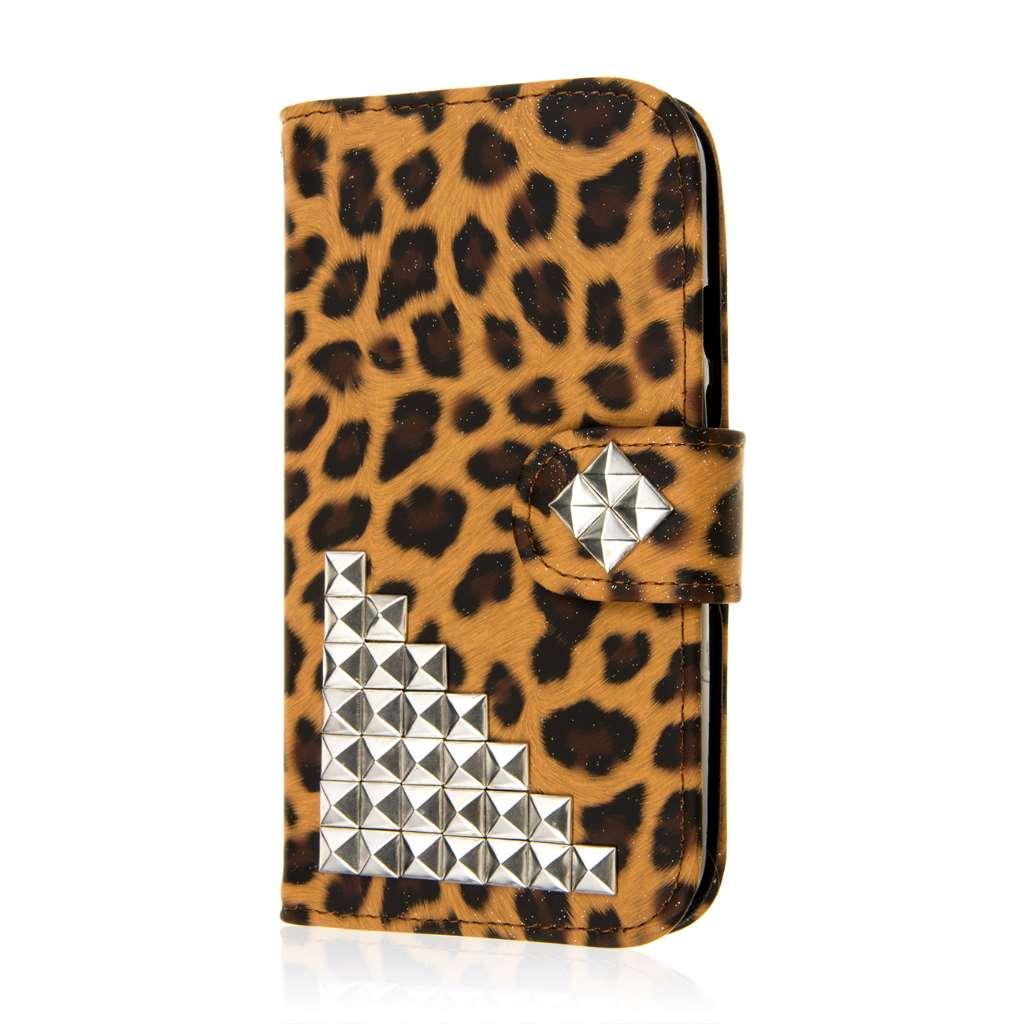 Motorola Moto G 2nd Gen 2014 - Studded Leopard MPERO FLEX FLIP Wallet Case