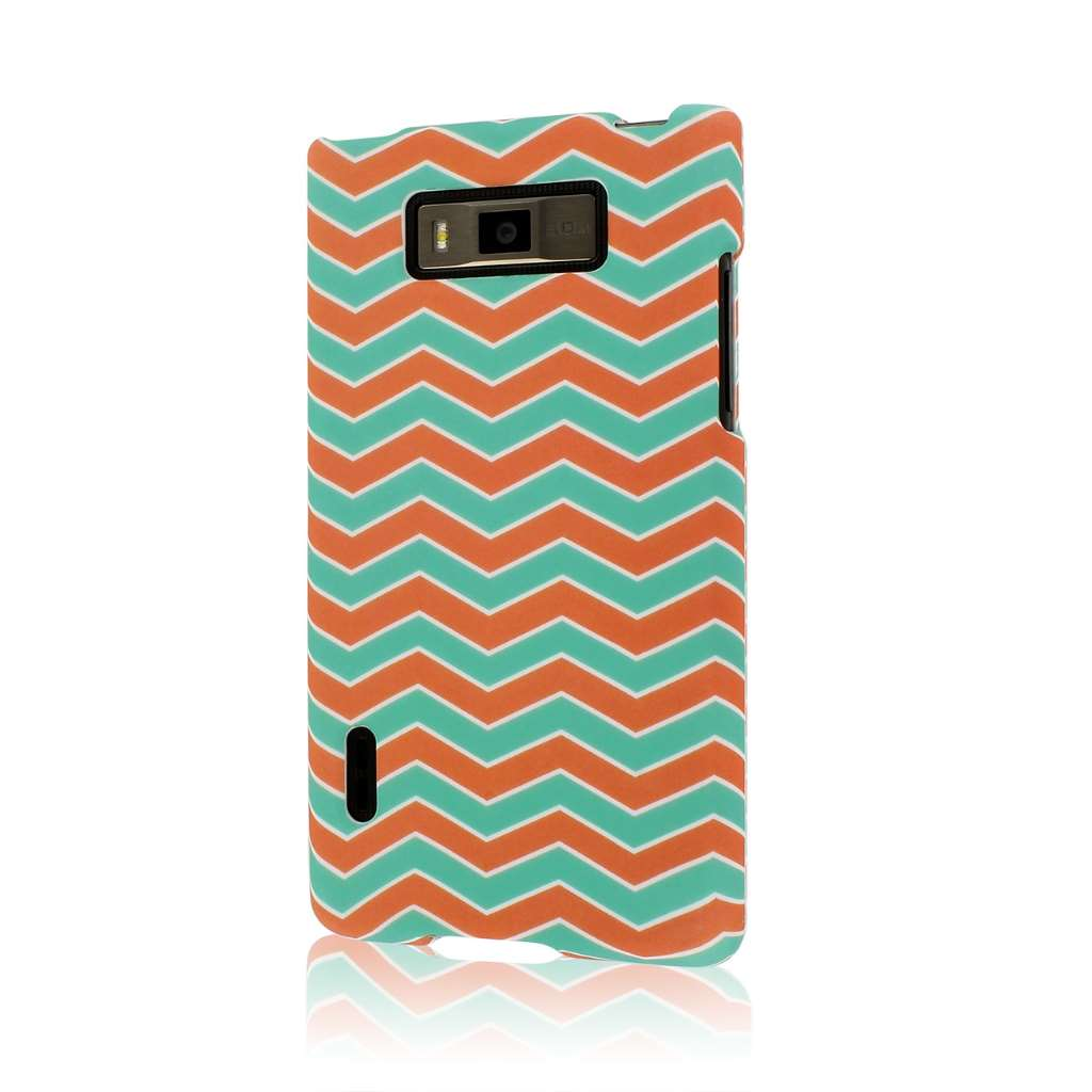 LG Splendor/ Venice - Mint Chevron MPERO SNAPZ - Rubberized Case Cover