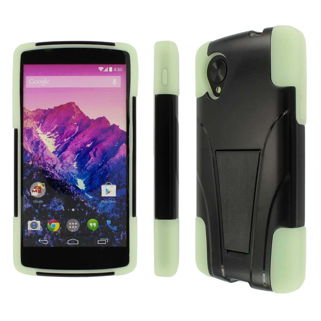 Google Nexus 5 - GLOW IN THE DARK GREEN MPERO IMPACT X - Kickstand Case