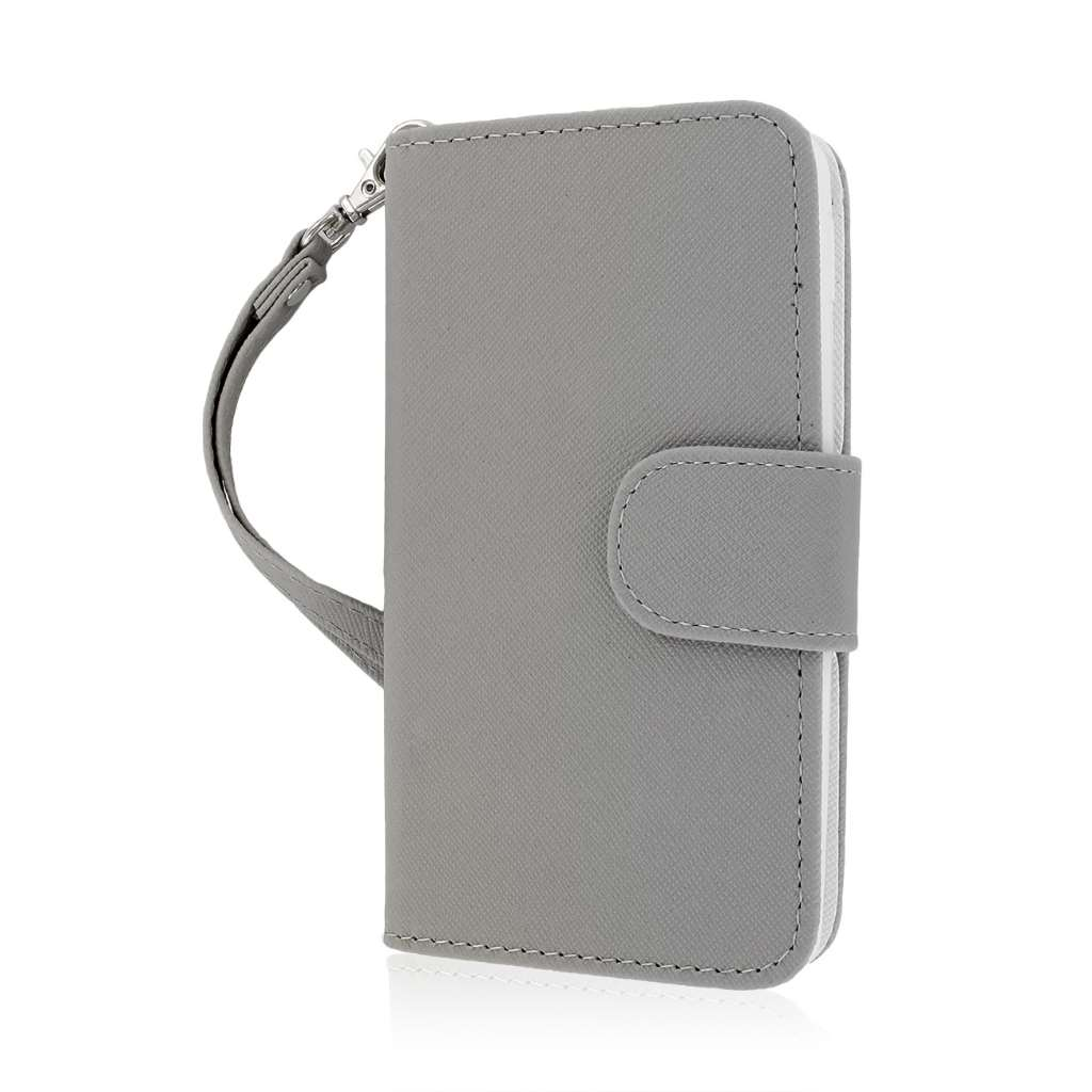 LG Optimus F6 - Gray MPERO FLEX FLIP Wallet Case Cover