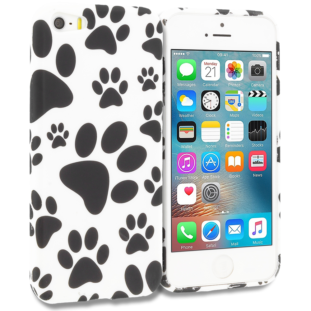 Apple iPhone 5/5S/SE Combo Pack : Black White Skulls TPU Design Soft Rubber Case Cover : Color Dog Paw