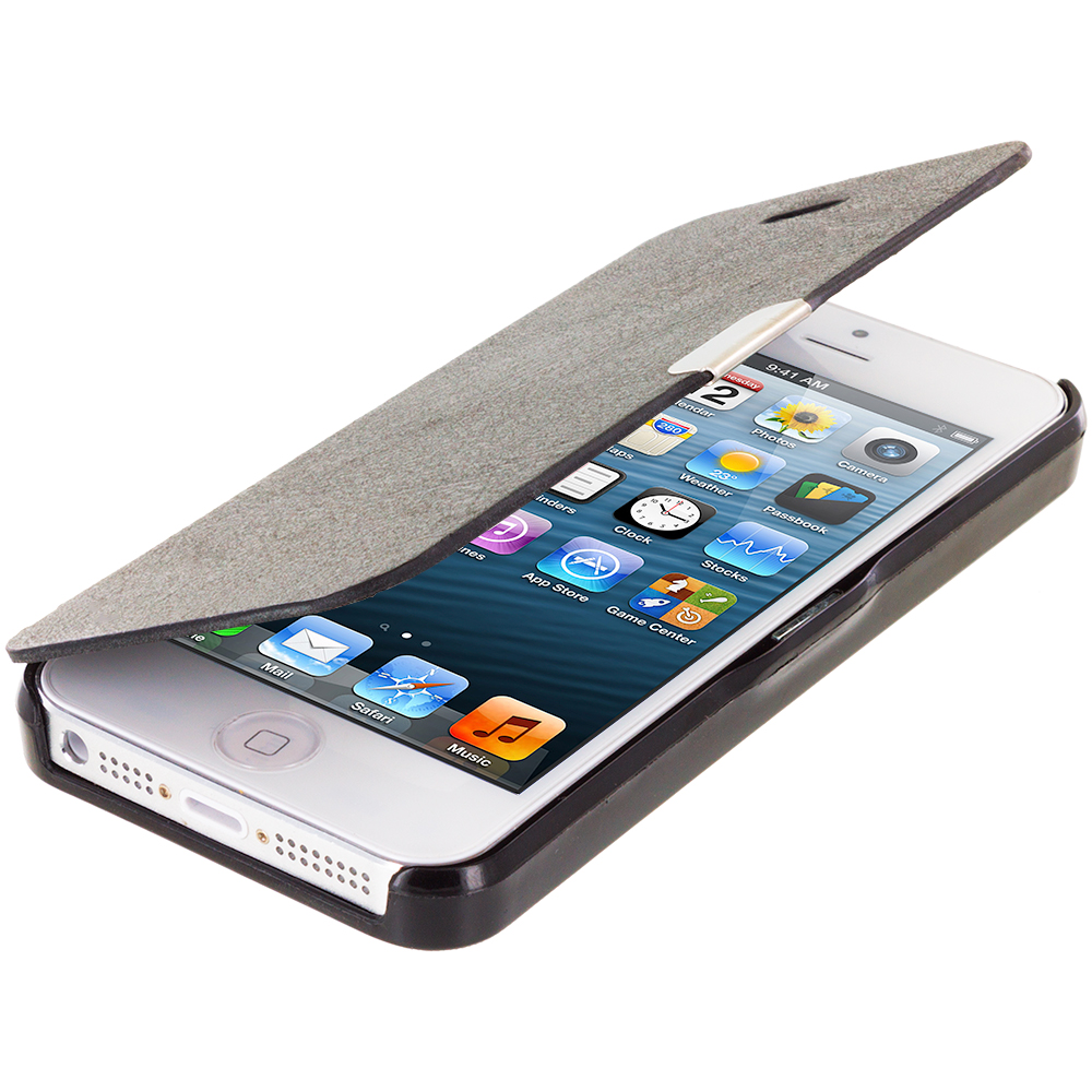 Apple iPhone 5/5S/SE Black Magnetic Flip Wallet Case Cover Pouch