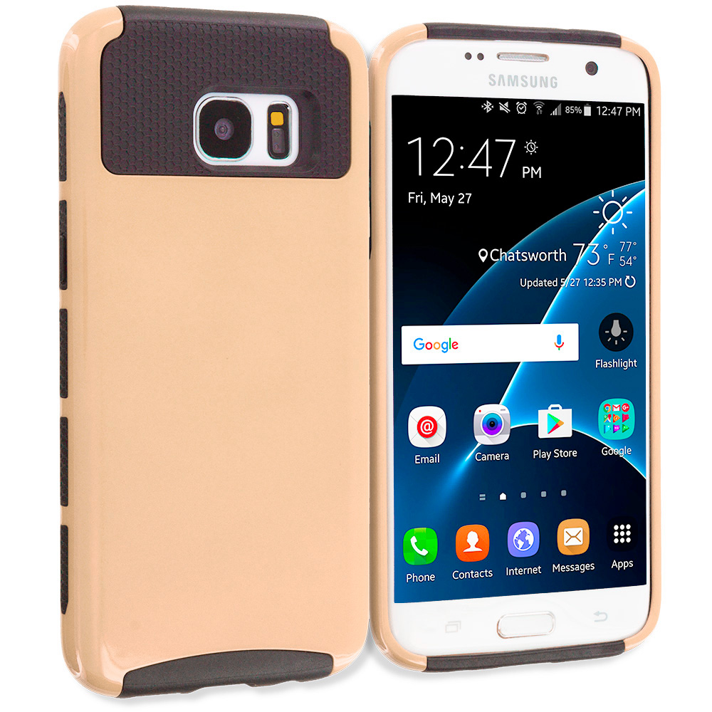 Samsung Galaxy S7 Edge Gold / Black Hybrid Hard TPU Honeycomb Rugged Case Cover