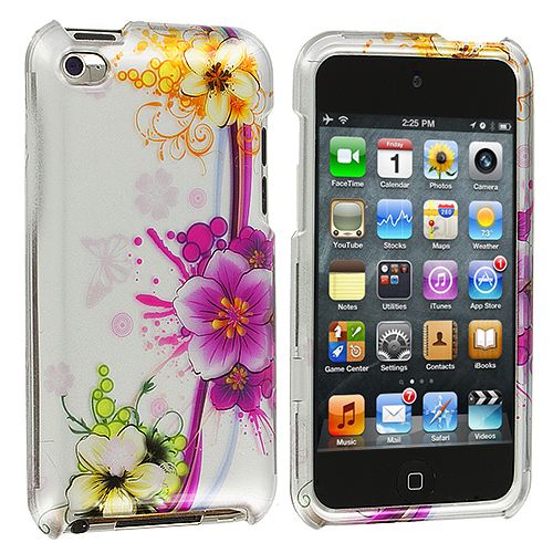 Apple iPod Touch 4th Generation Purple Flower Chain Design Crystal Hard Case Cover