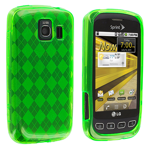LG Optimus S LS670 / U / V Neon Green Checkered TPU Rubber Skin Case Cover