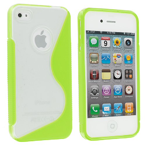 Apple iPhone 4 / 4S 2 in 1 Combo Bundle Pack - Clear / Smoke S-Line TPU Rubber Skin Case Cover : Color Clear / Green S-Line