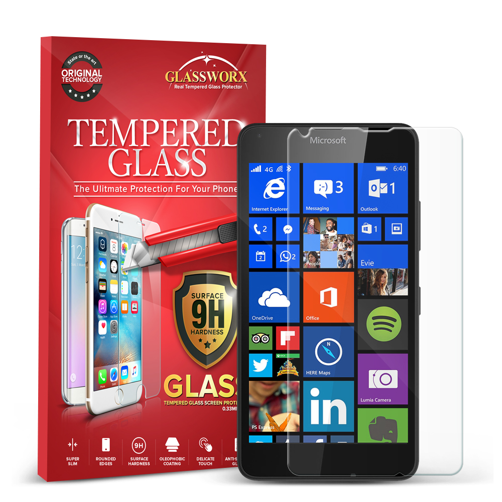 Microsoft Lumia 640 GlassWorX HD Clear Tempered Glass Screen Protector
