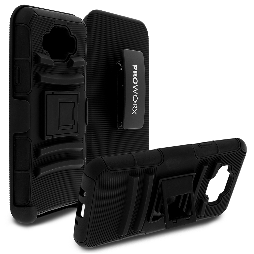 Samsung Galaxy Grand Prime LTE G530 Black ProWorx Heavy Duty Shock Absorption Armor Defender Case Cover With Belt Clip Holster