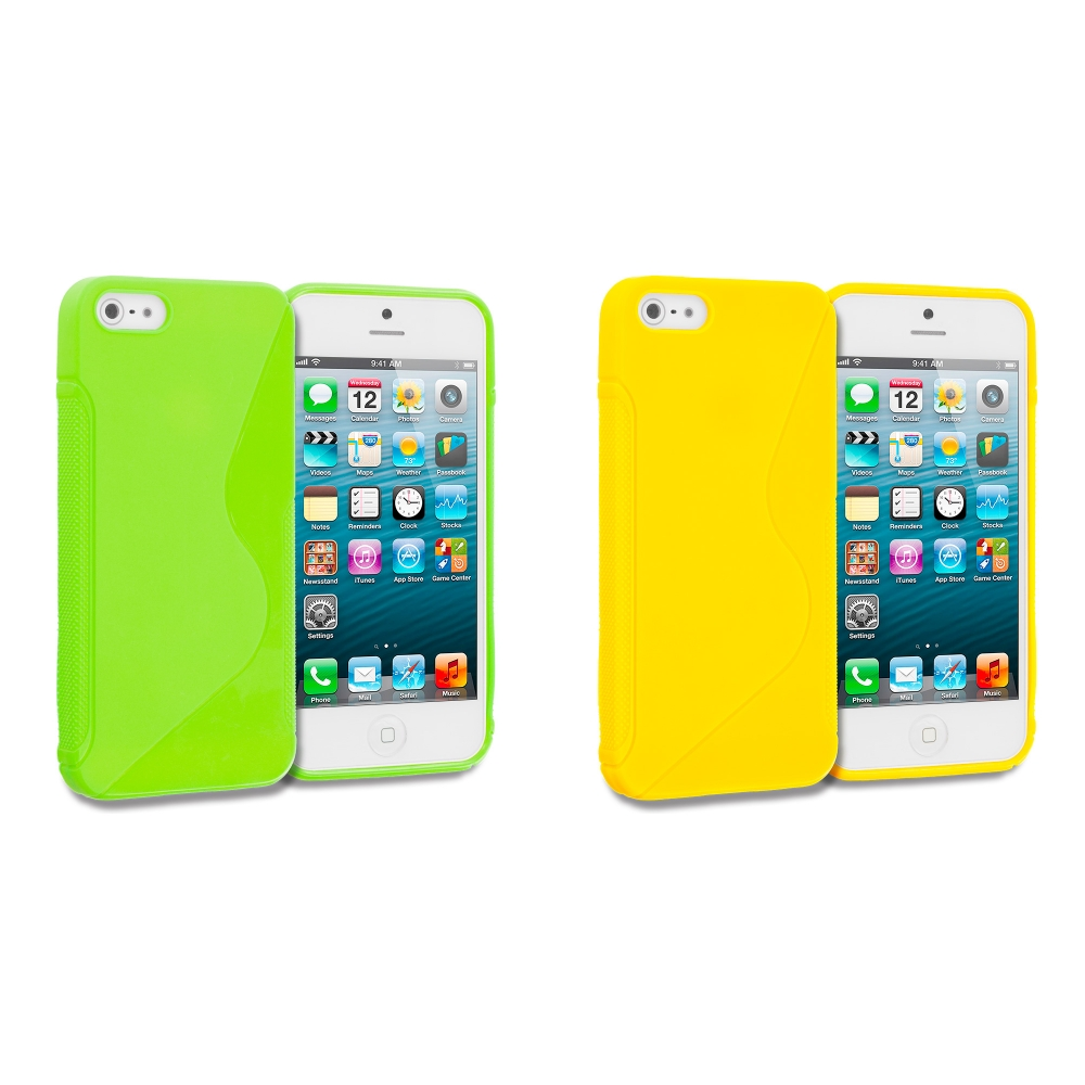 Apple iPhone 5 Combo Pack : Green S-Line Solid TPU Rubber Skin Case Cover