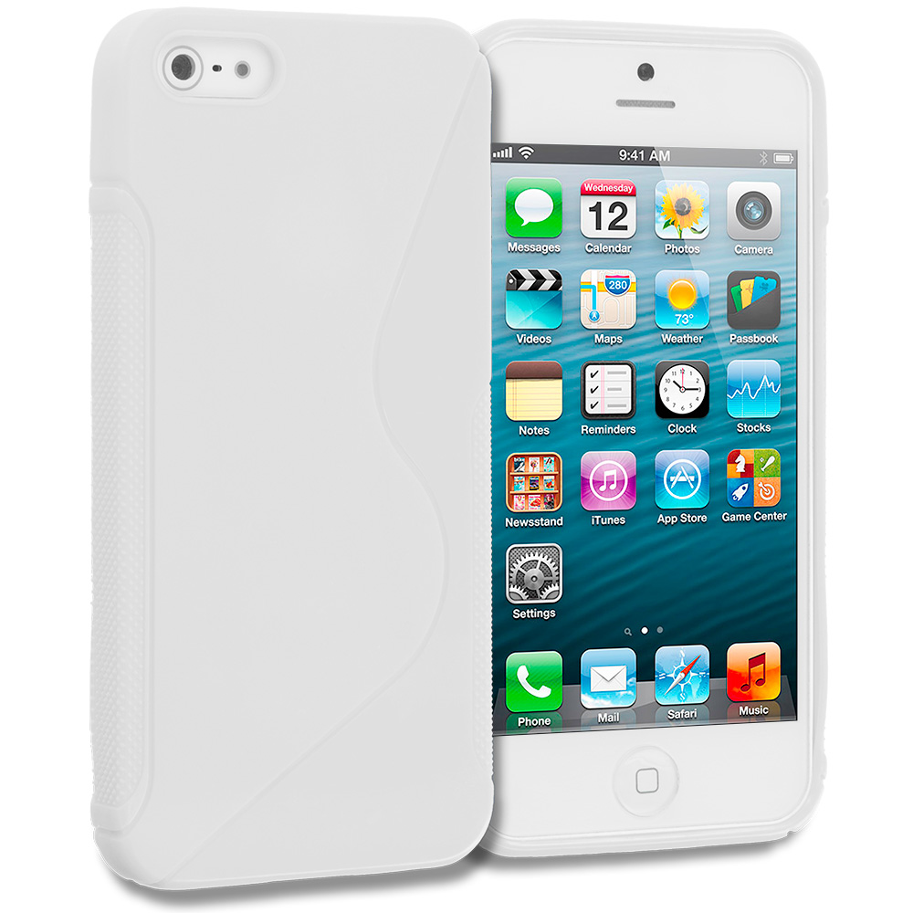 Apple iPhone 5/5S/SE Combo Pack : Purple S-Line Solid TPU Rubber Skin Case Cover : Color White S-Line Solid