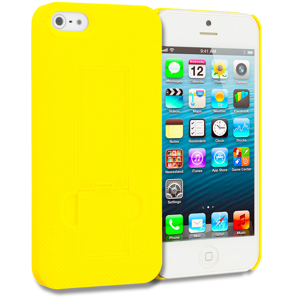 Apple iPhone 5/5S/SE Yellow Grid Texture w/ Stand Hard Rubberized Back Cover Case
