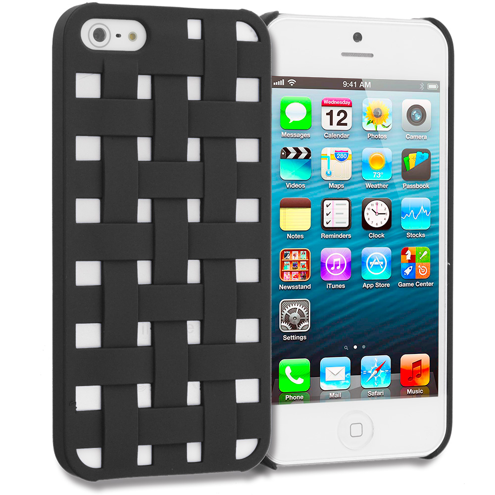 Apple iPhone 5/5S/SE Combo Pack : Black Handwoven Hard Rubberized Back Cover Case : Color Black Handwoven