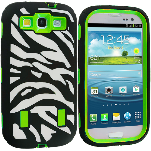 Samsung Galaxy S3 Black / Neon Green Zebra Hybrid Zebra 3-Piece Case Cover
